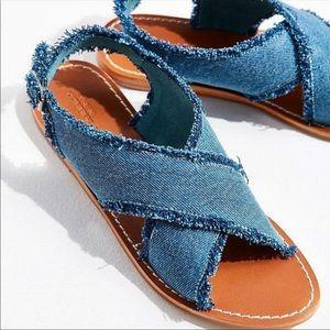Urban Outfitters Frayed Denim Cross Strap Sandal 7